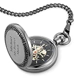 Things Remembered Personalized Gunmetal Skeleton Pocket Watch with Engraving Included