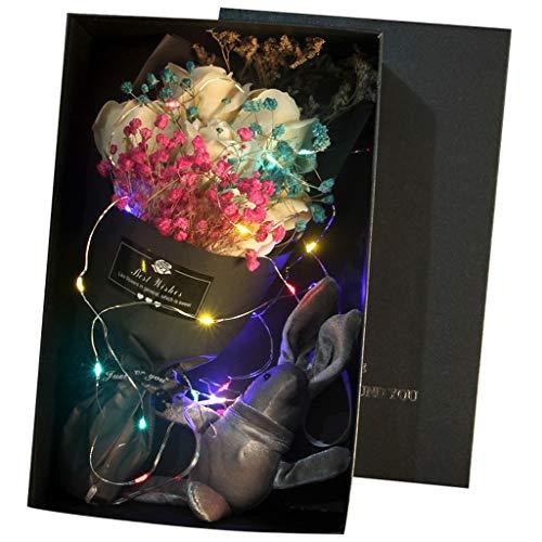 Andouy Künstliche Blume Seife Rose mit LED-Leuchten Fake Rosen Brautsträuße Geschenke für Jubiläum Hochzeit Party Zuhause Dekor(16.5x16.5x8.5cm.Orange)
