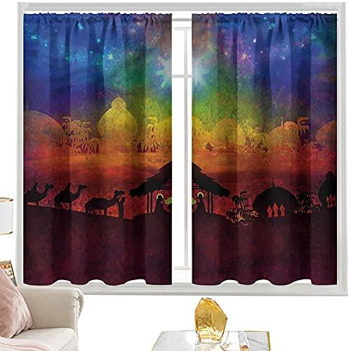 cortinas térmicas abstractas, nacimiento en Belén W42 x L63 pulgadas cutainsforlivingroom