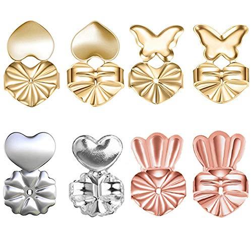 Ohrring Saugheber Rücken 4 Paar Magic Ohrring hebt Verstellbare Kopfstütze Hypoallergen Sicher Raise gedehnt die Sperren Lobes Ohrringe Schmuck Ergebnisse für Frauen (2 Gold + 1 Silber + 1 Rose Golden