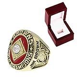 FGRGH Anillo de réplica de campeonato marrón 1964 para regalo, color marrón moda Rugby Championship Ring con caja de exhibición, recuerdo de abanico, oro, tamaño 10 ~ 12