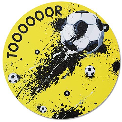 Mauspad im Fußball-Design I Ø 22 cm rund I Mousepad in Standard-Größe, rutschfest I für, Jungs cool I dv_654