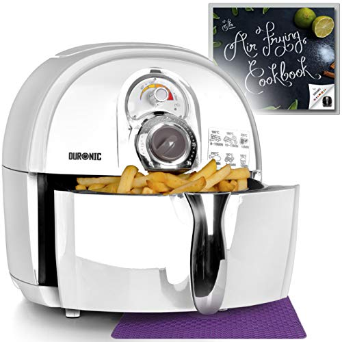 Duronic Air Fryer AF1 /W WHITE | Oil-Free & Low-Fat Healthy Cooking | Mini Oven | 1500W | 4.5L | Timer Function|Adjustable Temperature | Fry Chips, Chicken, Tasty Nutritious Meals | Free Recipe Book