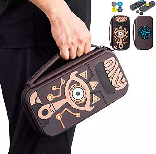 Zelda Silicone Carrying Case Compatible with Nintendo Switch Durable Portable Travel Carrying Case Pouch for Nintendo Switch Console & Accessories with 4 Extra Zelda Thumb Grip Caps