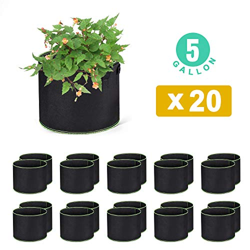 WOHOUS 20-Pack 5 Gallon Plant Grow Bags Heavy Duty Aeration Fabric Pots Thickened Nonwoven 5 Gallon Fabric Pots Plant Grow Bags with Handles (20, 5 Gallon)