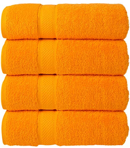 Todd Linens Juego de toallas de mano de 4 piezas – 500 g/m² 100% algodón naranja accesorios de...