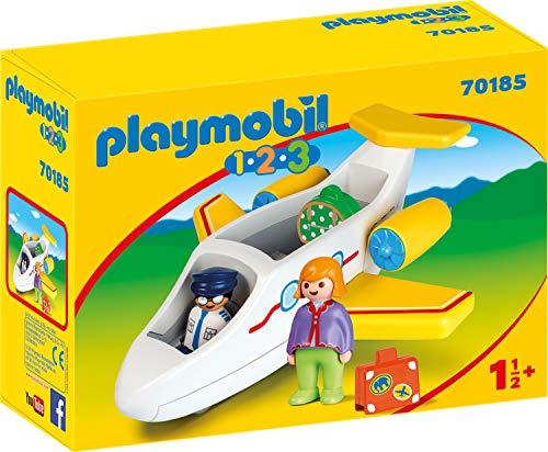 PLAYMOBIL 1.2.3 Avión con Pasajero, Color carbón (70185)