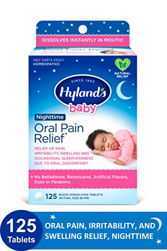 Hyland's Baby Nighttime Oral Pain Relief Tablets with Chamomilla, Soothing Natural Relief of Oral...