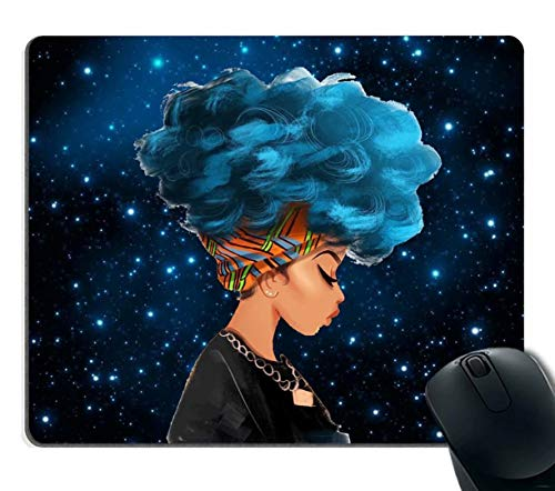 Gaming Mouse Pad Custom,African Women with Blue Hair Hairstyle Galaxy Background Non-Slip Rubber Mouse Pad Mousepad Decor Home Office for Computer Laptop