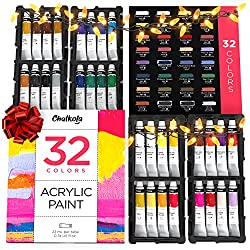 in budget affordable Acrylic paint set for canvas, handicrafts, wood painting (32 colors, 22 ml tubes, 0.74 oz) – rich …