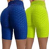 Mujer Cintura Alta 1/2 Yoga Leggins Deporte Panal Arrugado para Nalgas de Las Mujeres...