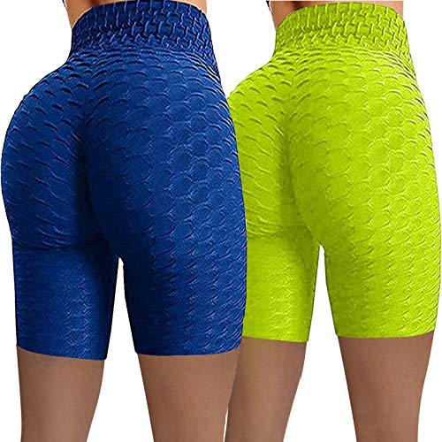 Mujer Cintura Alta 1/2 Yoga Leggins Deporte Panal Arrugado para Nalgas de Las Mujeres Leggings Anticelulitis Color sólido Pantalones Deportivos para Slim Running 2pcs