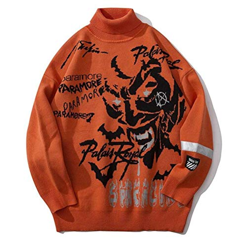 JUSTTIME Jacquard Coltrui Jeugd Sweater Man Sweater Mode Zombie Patroon Hand Mouw Reflecterende Doek Paar Sweater L ORANJE