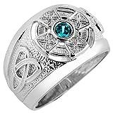Kleine Schätze - Herren Ring / Verlobungsring / partnerring 925 Sterling Silber keltisch Zirkonia Aquamarine