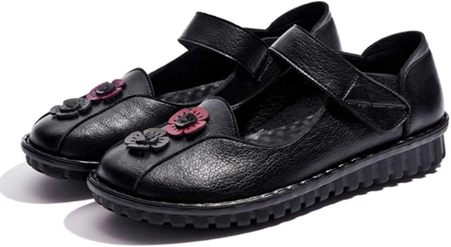 Luobote Women Mary Jane Flats Genuine Leather Vintage Flower Casual Walking Moccasins