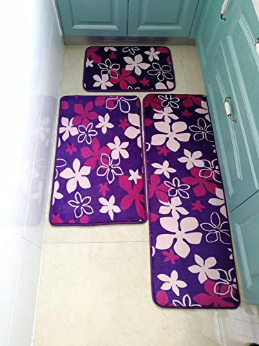 Rocco Mat - me Floor mat Kitchen Carpets Set Entry Deurmat Water absorptie Kitchen mat Living Room Hallway Sofa Rug 40 * 60/50 * 80/40 * 120cm - 1 PC Purple Flower - 40x60 50x80 40x120cm