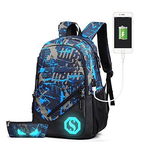 feibi Luminous Zaino Scuola Casual Scuola Borsa Zaino Viaggio Laptop Spalla Zaino con USB Carica Porta