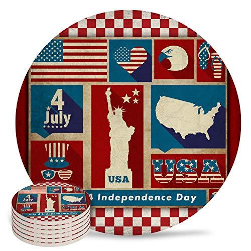 Onafhankelijkheidsdag Amerikaanse vlag USA kaart Set van 6 keramische onderzetters Retro Star Check geruite absorberende stenen onderzetter Set voor 4 juli met antislip kurksteun en geen houder voor bekers