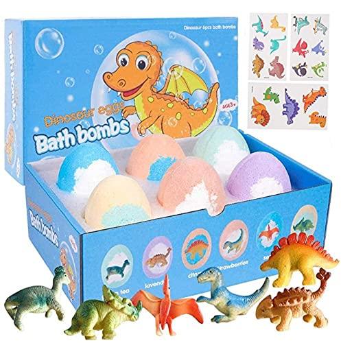 Badbommen voor Kinderen met Verrassing erin,Bath Bombs,6 STKS Dino-ei Handgemaakte Natuurlijke Koolzuurhoudende badbruisballen Dinosaurus Speelgoed voor Meisjes Jongens Verjaardag Pasen Cadeauset