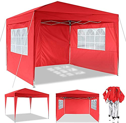 Pop-up Gazebo by a Sturdy Metal Frame, Heavy Pavilion, Suitable for Garden, Terrace, flea Market, Wedding, Birthday Party,Red-3x3m