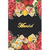 Marshel Notebook: Lined Notebook / Journal with Personalized Name, & Monogram initial M on the Back Cover, Floral cover, Gift for Girls & Women