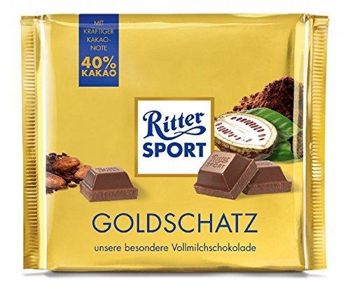 Ritter Sport Goldschatz, Vollmilchschokolade, 40% Kakao - 250g - 4x