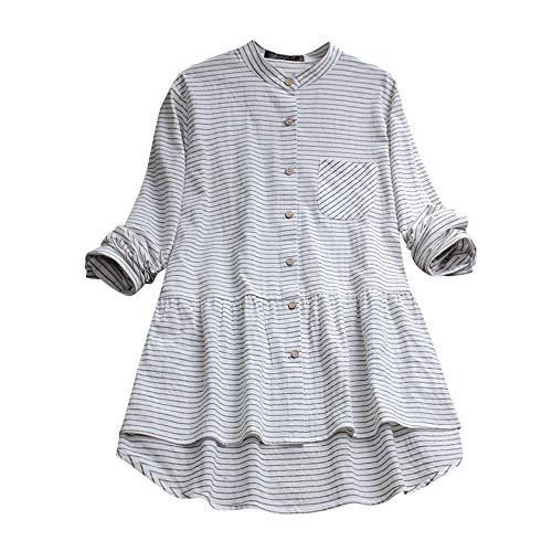 VJGOAL Damen Kleid, Damen Lässige Retro-Baumwolle und Leinen Knopf Lange Tops Bluse Lose Lange Ärmel Mini Hemd Kleid …