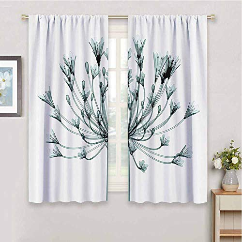 Xray Flower Decor Collection Bedroom Decor Blackout Shades Block Out Curtains for Living Room, W55 x L63 Inch, Teal White