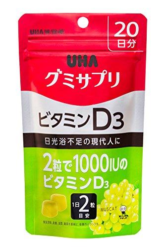 『UHAグミサプリ ビタミンD3 マスカット味 スタンドパウチ 40粒 20日分』のトップ画像