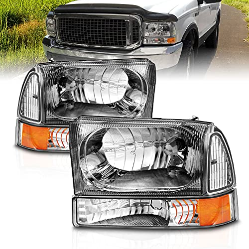 AmeriLite Headlights Replacement W/Corner Light Chrome Amber For Ford Excursion / Super Duty F250, F350, F450 - Passenger and Driver Side