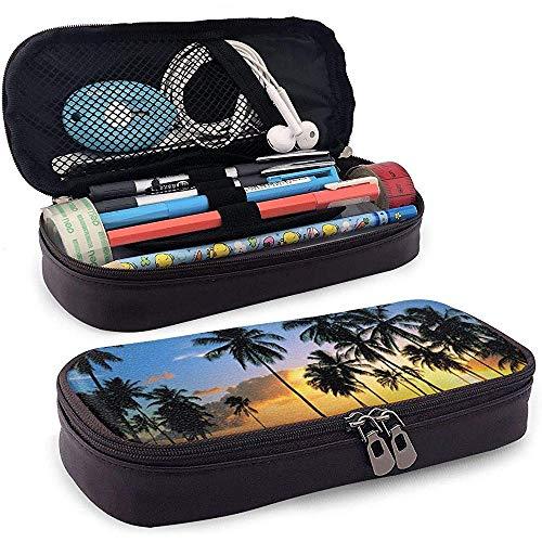 Kokosnusshain im Sonnenuntergang Leder Federmäppchen Tasche mit Reißverschluss Stift Box, große Kapazität Briefpapier Box