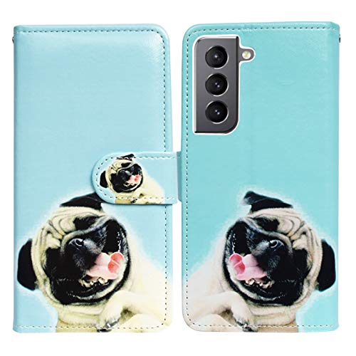 Galaxy S21 5G Case,Bcov Funny Pug Dog Leather Flip Phone Case Wallet Cover with Card Slot Holder Kickstand for Samsung Galaxy S21 5G