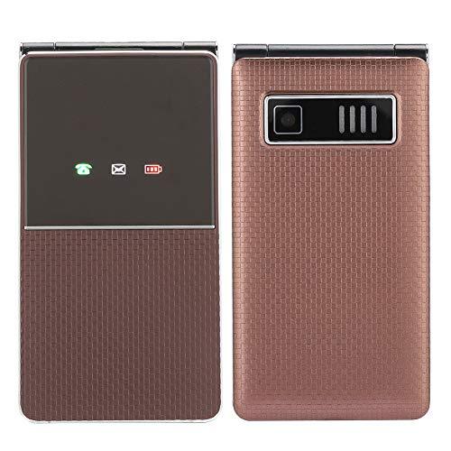Leftwei Teléfono móvil para Personas Mayores, Pantalla HD Diseño de Apariencia Exquisita Botones Grandes Teléfono Plegable con Tapa, para Viajar a casa Hombres de Negocios Ancianos(Brown)