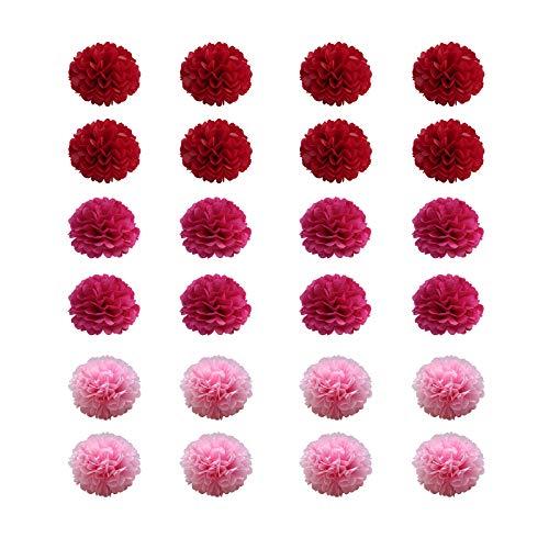 Heiqlay Pon Pon Carta Velina, Pompon in Carta Velina Flower Ball Fatte a Mano Carta velina di qualità Pom Pom Fiori Craft Kit per Matrimonio Festa di Compleanno Decorazione (24 pezzi, 25 cm, rosso)