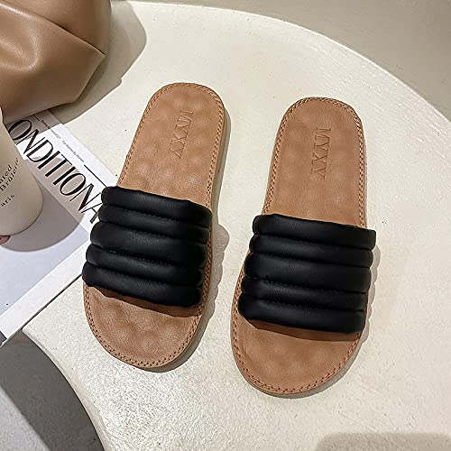 WENHUA Zapatillas de Ducha para Mujeres Antideslizantes, Zapatillas de Masaje Antideslizantes, Gruesas con Sandalias-Negro_38, Zapatillas de Estar por Casa de Hombre y Mujer