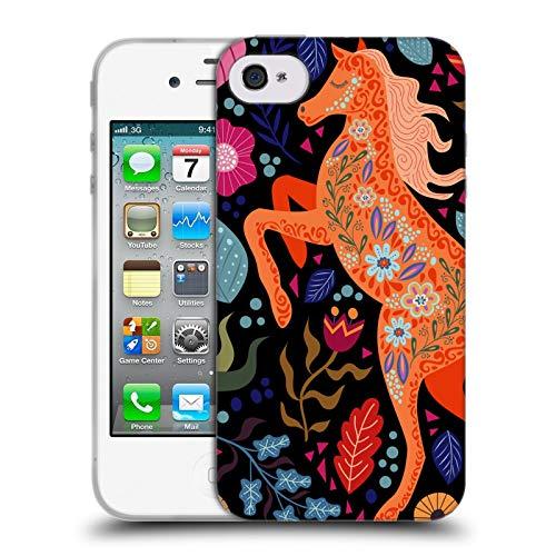 Head Case Designs Ufficiale Haroulita Cavallo in Fiore Foresta Cover in Morbido Gel Compatibile con Apple iPhone 4 / iPhone 4S