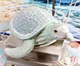 "Ebros Aquamarine Coastal Ocean Swimming Giant Sea Turtle Statue with Crushed Glass Mosaic Shell and Hand Painted Vintage Distressed Wood Finish Nautical Decor Figurine (Large 10.25"" Long)"