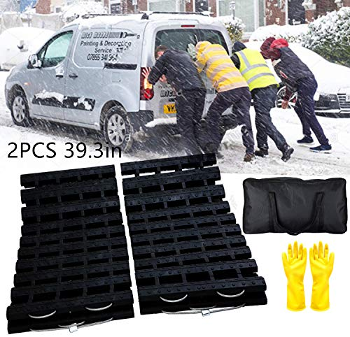 EVTIME Emergency Devices Tire Traction Mats, Portable for Snow, Ice, Mud, and Sand Used to Car, Truck, Van or Fleet Vehicle (2PCS 39in)
