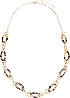 BOROGOVIA Women's Marbled Leopard Acrylic Chain Link Necklace Long Chunky Oval Resin Statement Necklace Jewelry
