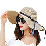 Womens Wide Brim Straw Hat Floppy Foldable Bowknot Straw Sun Hat (Khaki)
