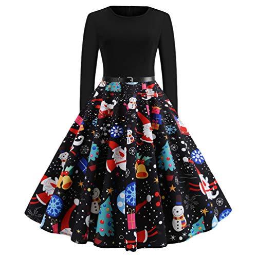 Baijiaye Dames Kerstjurk Vintage Elegante 50s Hight Taille Lange Mouw A-lijn - rok partyjurken Knielange Swing Dress Zwart L