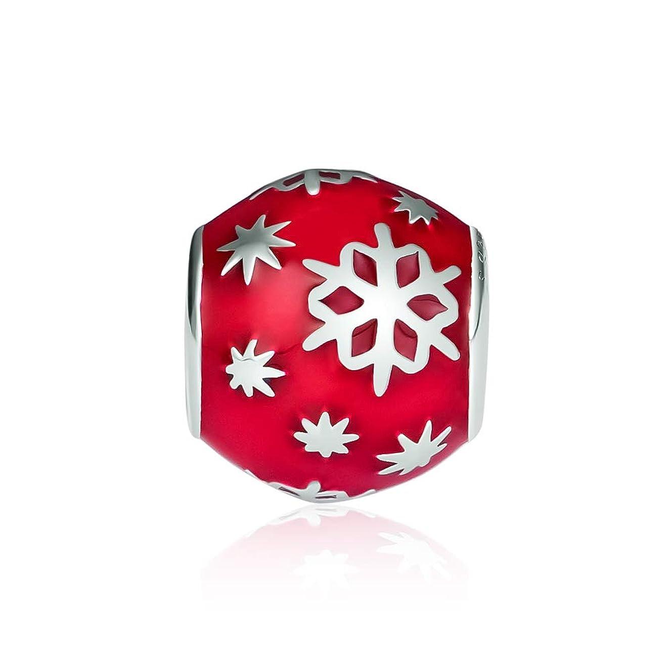 CKK Snowflake Charm Fit Pandora Bracelet 925 Sterling Silver Red Enamel Bead Charms for Bracelets DIY Jewelry Making Christmas Gift
