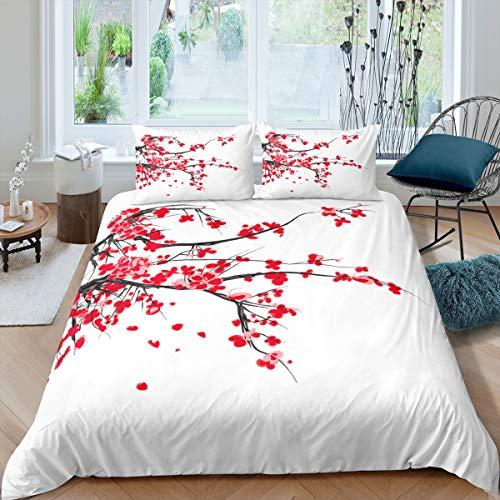 Loussiesd Juego de ropa de cama con diseño de flor de melocotón, juego de funda de edredón para niñas, adolescentes y mujeres, estilo chino, colección de regalo, 3 piezas, tamaño king