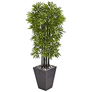 """Nearly Natural 61"""" Bamboo Artificial Black Trunks in Slate Planter UV Resistant (Indoor/Outdoor) Silk Trees, Green"""