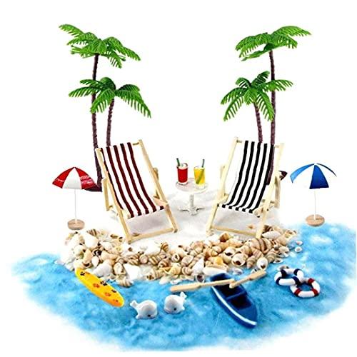 DierCosy Casa de muñecas en Miniatura Accesorios Beach Decoración del Paisaje de la Playa Micro con tumbonas Parasoles de la Palmera para el Verano 18PCS Duradero