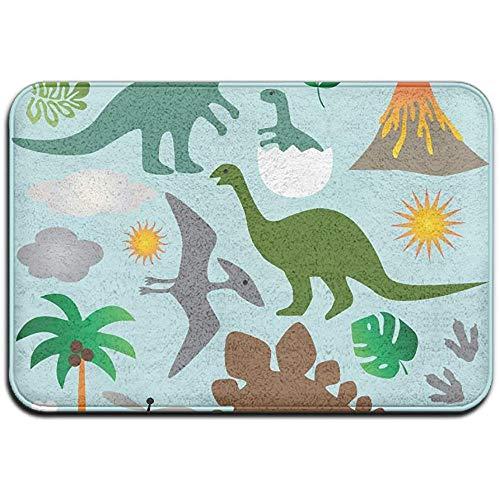Dinosaurussen Voorbeeld Palm Bladeren Vulkaan Outdoor Rubber Mat Voordeur Matten Porch Garage Slip Entry Tapijt