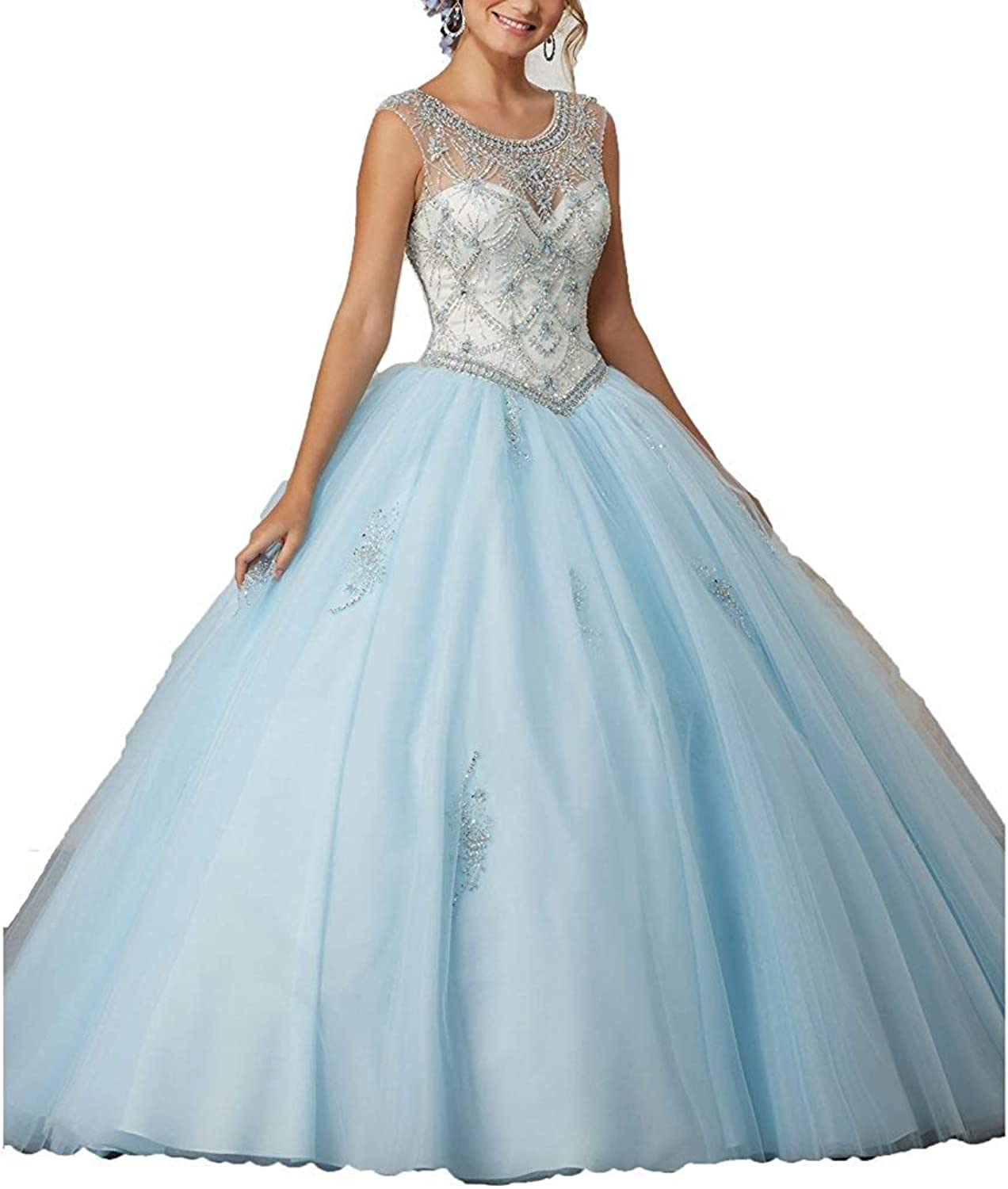 ANFF Women Long Quinceanera Dresses Sweet 16 Big Girls Prom Ball Gowns