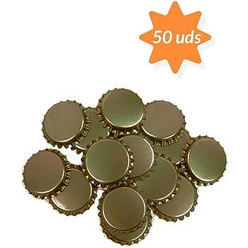 TAPAS & ENVASES RIOJA Chapas para Botellas de Cerveza Doradas Pack de 50 chapas Ideales para botellines para Hacer Cerveza artesana Chapa con diametro 26mm Color Dorado Cierre hermetico (50 Unidades): Amazon.es: