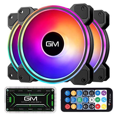 GIM KB-24 RGB Ventiladores de caja, paquete de 3 ventiladores silenciosos de 120 mm para PC, 5V ARGB direccionable de ritmo musical M/B, Totalmente ajustable a través del SYNC/RC controlador