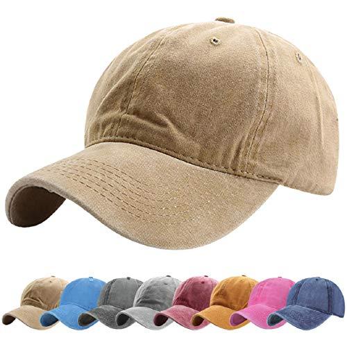 Tuopuda Gorra de Béisbol Classic Unisex Ajustable Washed Teñido Gorras de Béisbol de Algodón Sombrero de Deportes al Aire Libre